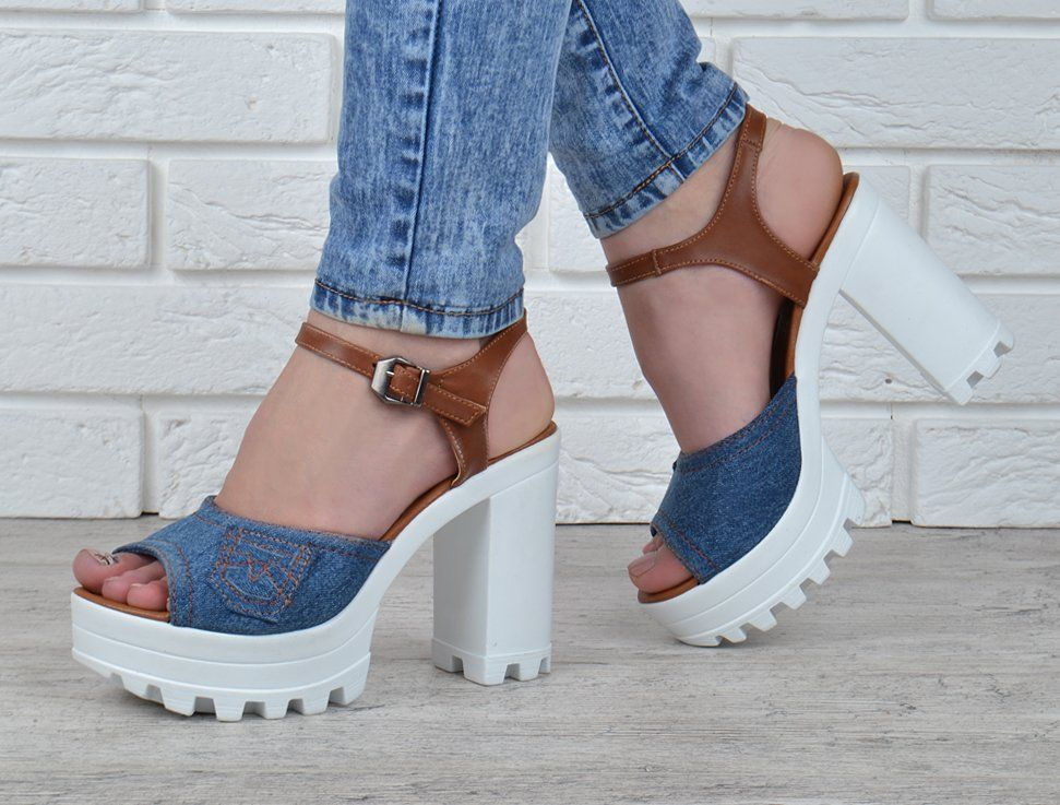 ᐉ Купити Босоніжки жіночі джинсові на підборах Ersax темно-сині з ... 6e3a1dc6b2b2a
