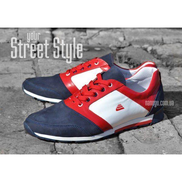 Кросівки чоловічі шкіряні сині білі червоні на шнурівці Leonardo Україна a1251db4ef1d3