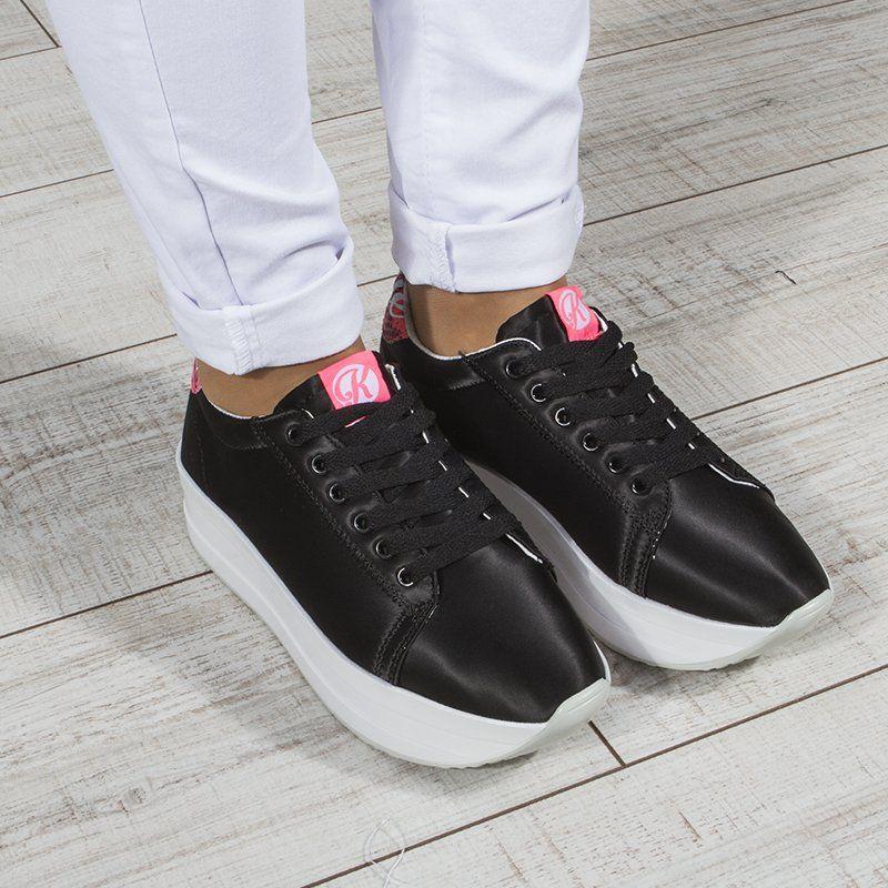 48fcfd10b ᐉ Купить Кроссовки женские на платформе атласные черные Kylie Crazy ...