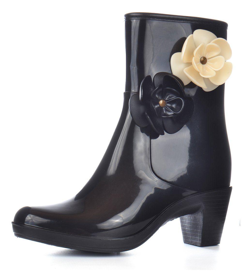 Ботильони жіночі гумові Coco Chanel чорні на підборах з квітами на блискавці 8463a606cba6a
