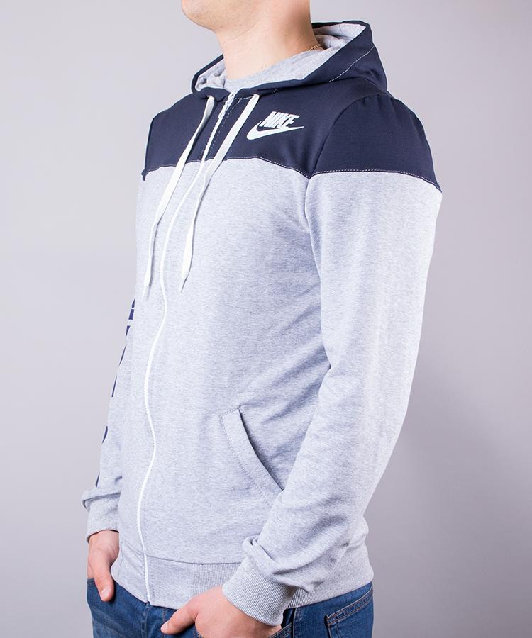 cb46902f950000 Спортивний костюм чоловічий Nike сірий з синім на блискавці з капюшоном