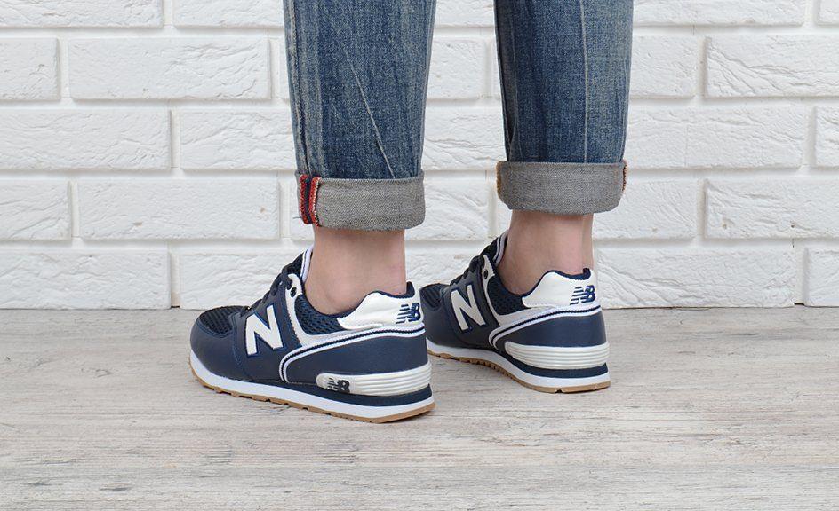 ᐉ Купити Кросівки жіночі шкіряні New Balance 574 темно-сині – в ... b99cfbd119759