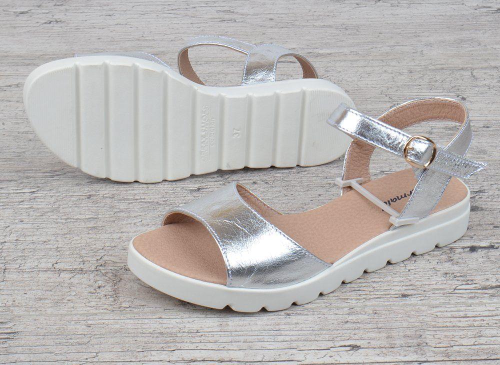 183b1a0b1942 ᐉ Купить Босоножки женские кожаные серебро на платформе Great Shoes ...