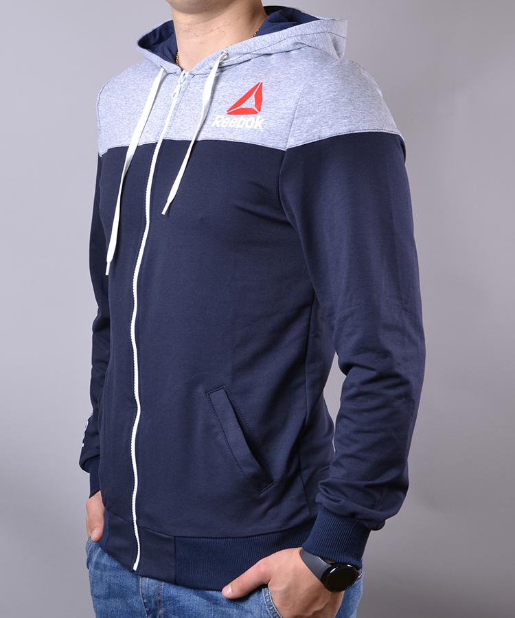 aa7163f331e422 Спортивний костюм чоловічий Reebok синій з сірим на блискавці з капюшоном