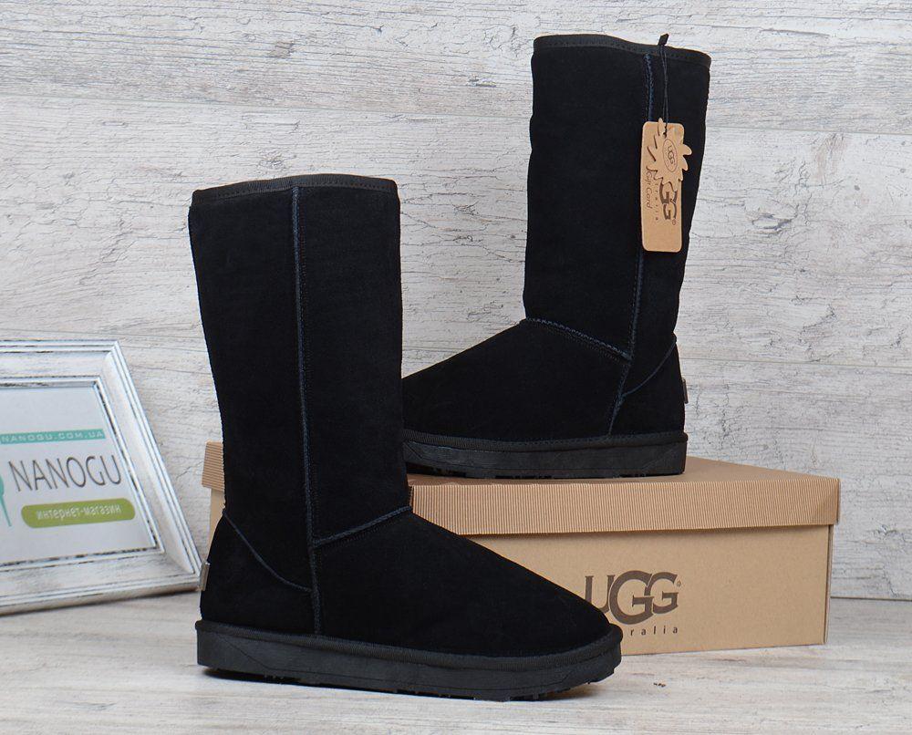 ᐉ Купити Уггі жіночі високі UGG Australia натуральна замша чорні ... 93bce3cee7497
