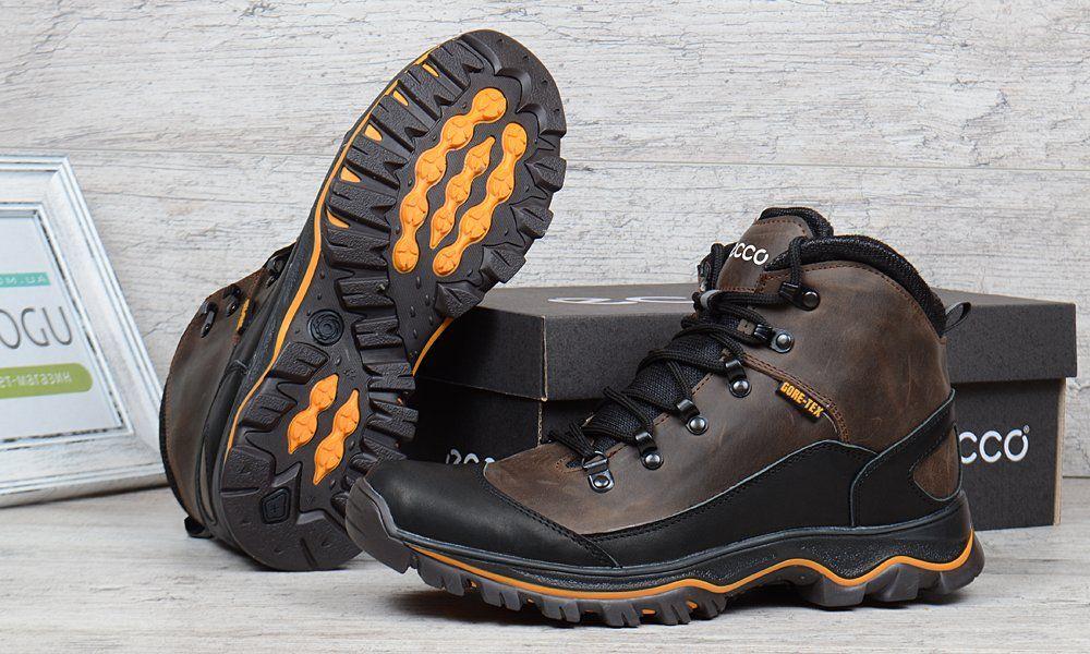 25b93834 ᐉ Купить Ботинки мужские зимние кожаные на меху Ecco Gore-tex хаки ...