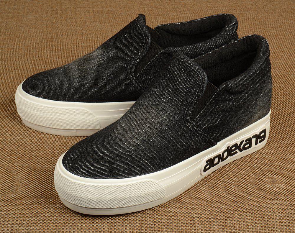 Джинсовые слипоны черного цвета на платформе. Купить слипоны в интернет-магазине обуви Киев