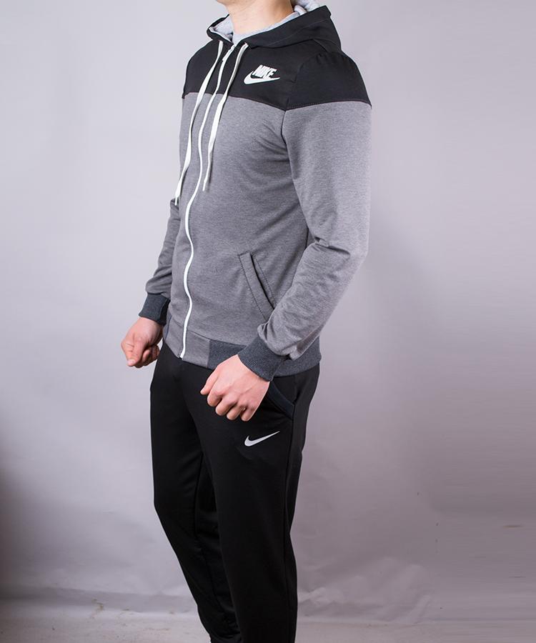 297bc00b ᐉ Купить Спортивный костюм мужской Nike черный с серым на молнии с ...