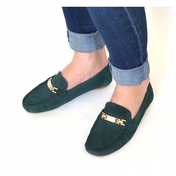 ᐉ Купить Мокасины женские темно-зеленые натуральная замша ... 379fab35cca1d