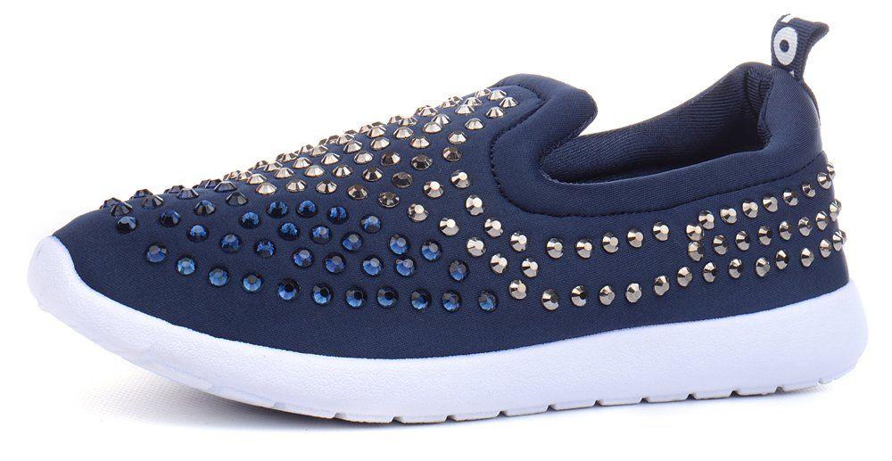 ᐉ Купить Кеды слипоны женские синие Love текстильные – в интернет ... 6aea79f55ee