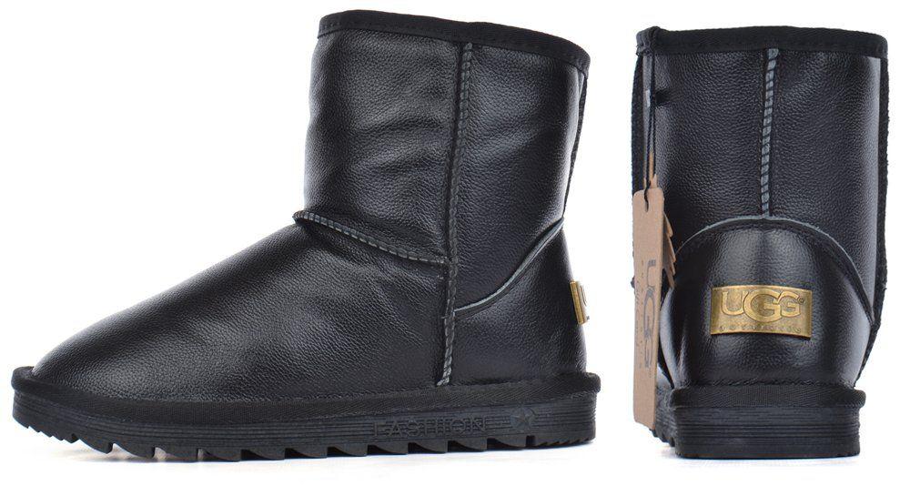 ᐉ Купити Уггі шкіряні UGG Australia дитячі зимові чоботи чорні – в ... 430f74c253c41