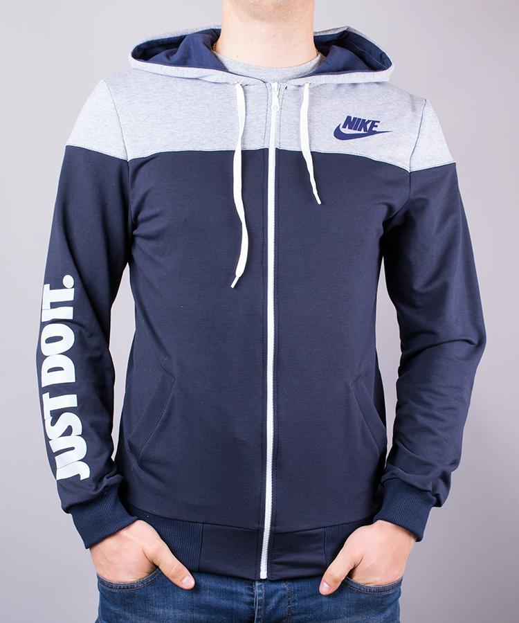 0e609838100e91 Спортивний костюм чоловічий Nike синій з сірими плечима на блискавці з  капюшоном