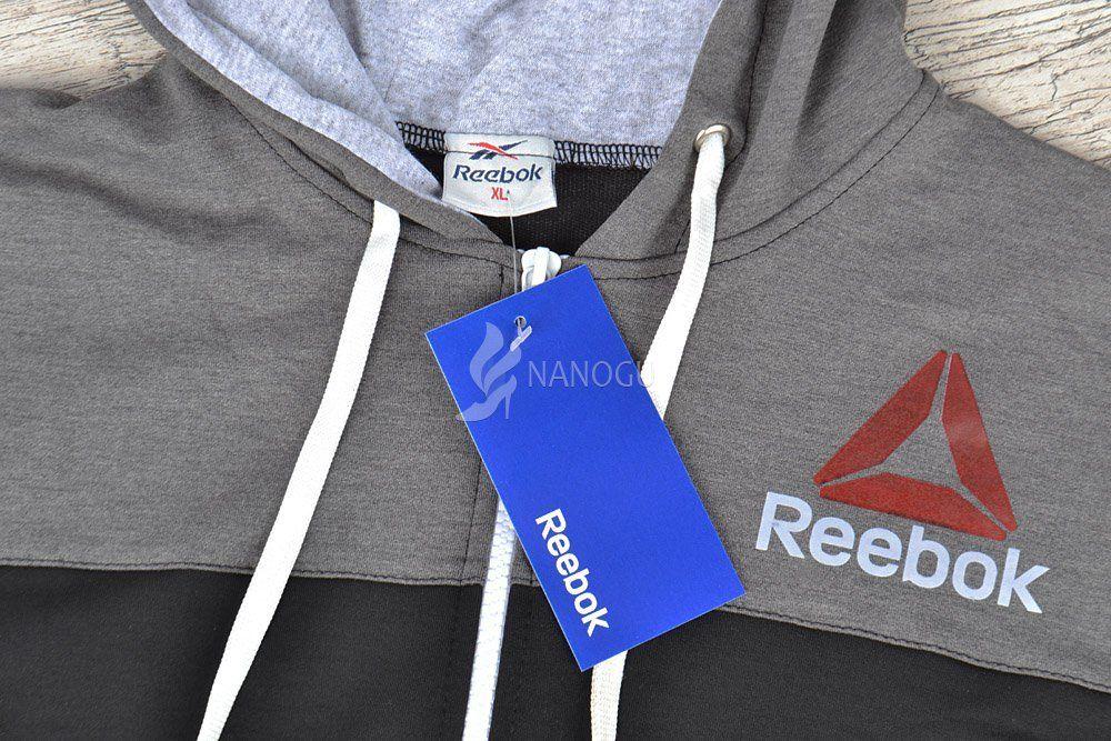 Спортивный костюм мужской Reebok Crossfit синий с серым на молнии с  капюшоном f789360124f2e