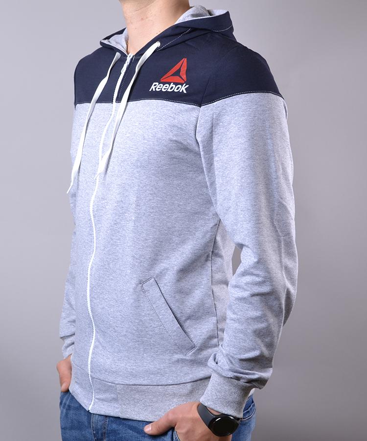 38c3e2abb268d9 Спортивний костюм чоловічий Reebok Crossfit синій з сірим на блискавці з  капюшоном