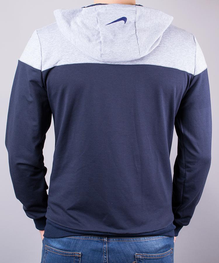 e3e5dda1376f78 Спортивний костюм чоловічий Nike синій з сірим на блискавці з капюшоном