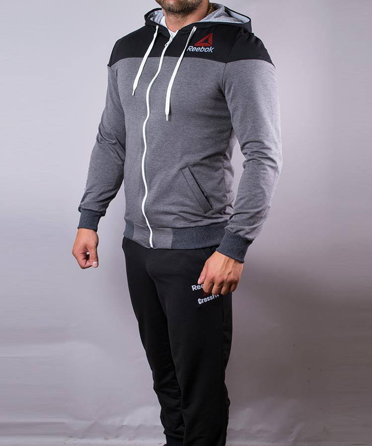 Спортивний костюм чоловічий Reebok сірий з чорним на блискавці з капюшоном 4571e4f743dd5
