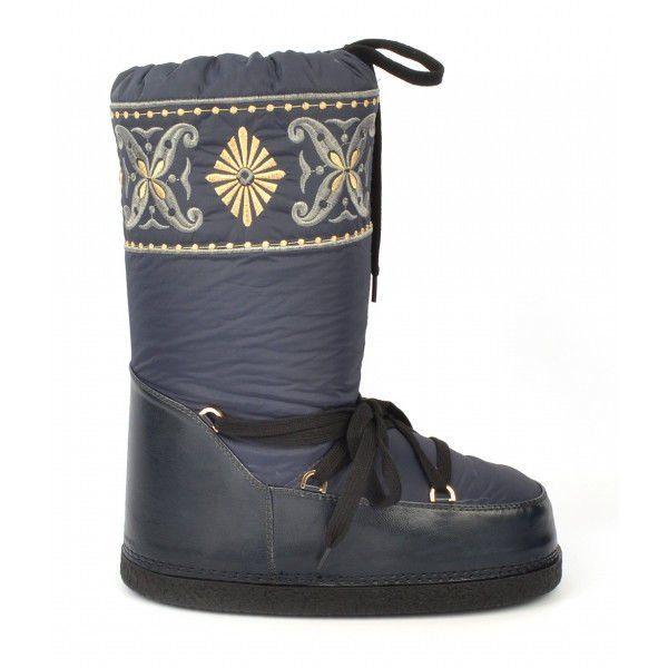 Женские теплые сапоги дутики (дутыши) луноходы Moon Boots (Мун бутс) в синем цвете с вышивкой. Самая теплая обувь для женщин.