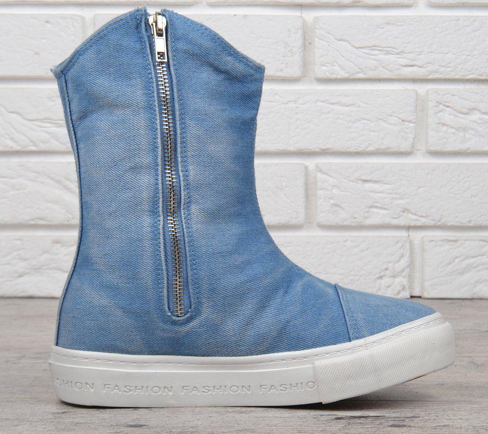 111baa853 ᐉ Купить Сапоги женские джинсовые на платформе светлые Jeans ...