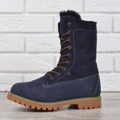 b4c09d7af Купить Ботинки женские зимние на шнуровке натуральная опушка Bessky  Waterproof синие фото, в интернет-