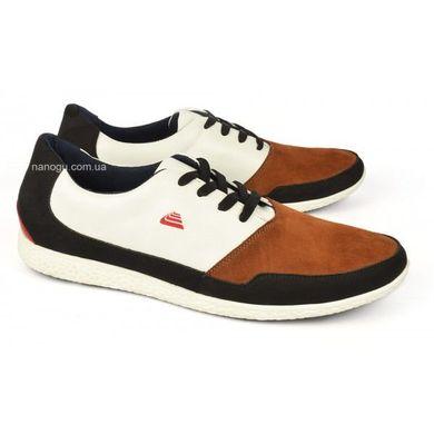 ᐉ Купити Кросівки чоловічі шкіряні білі коричневі на шнурівці ... dbb38826286a6