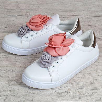 ᐉ Купити Кеди жіночі білі з текстильними квітами Love shoes Польща ... d41122fd3d5e5