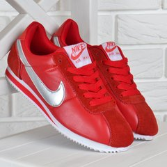 48572f8f Купить Кроссовки женские кожаные Nike Cortez красные серебро фото, в  интернет-магазине обуви Nanogu