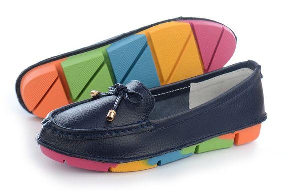 ᐉ Купить Мокасины женские кожаные темно-синие Rainbow Турция – в ... 87d44feb52508