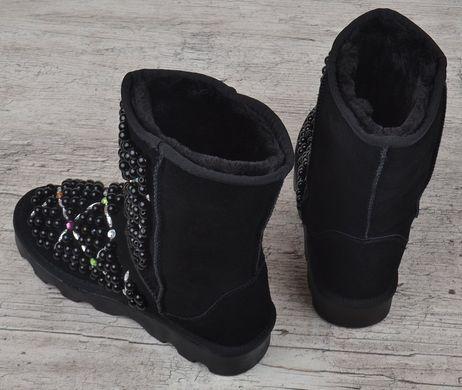 ... КупитиУггі жіночі замшеві чорні на платформі з намистинами і стразами  Bohemia фото 99c3c3caf4e83