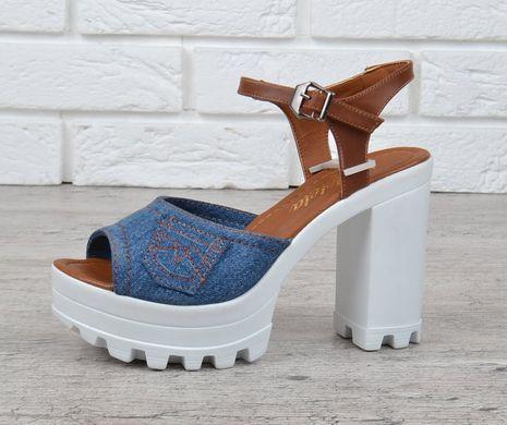 ... КупитиБосоніжки жіночі джинсові на підборах Ersax темно-сині з  коричневим фото 74ff0b1ba880f