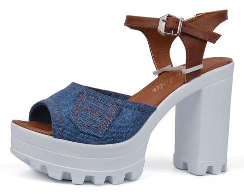 КупитиБосоніжки жіночі джинсові на підборах Ersax темно-сині з коричневим  фото 18f7a86b58d27