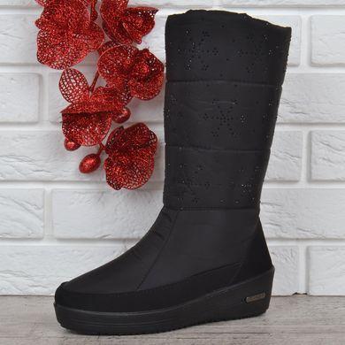 КупитиДутики жіночі зимові чоботи Snowflake на танкетці зі сніжинками фото 81a4b0dc6d7a8
