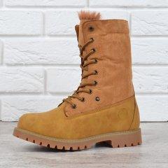 КупитиЧеревики жіночі зимові на шнурівці натуральна опушка Bessky  Waterproof жовті фото e9033f6486685
