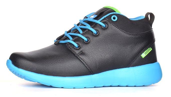 КупитиЧеревики жіночі зимові шкіряні Winter blue чорні з блакитним спортивні  фото 3be3d221dc107