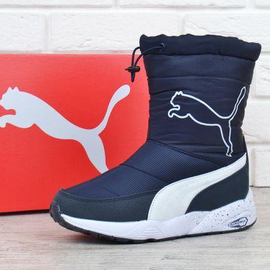 9d8bf4aff Купить Дутики женские зимние сапоги Puma Trinomic темно-синие с кулисой  фото, в интернет ...