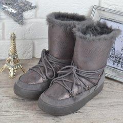 Купити. КупитиДутики жіночі зимові чоботи унти The only one сірі срібло на  шнурівці фото 319b6aac61d10