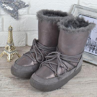 КупитиДутики жіночі зимові чоботи унти The only one сірі срібло на шнурівці  фото dd4e553aef7d9