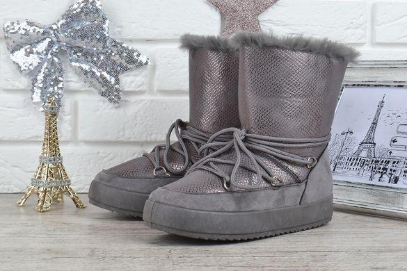 ... КупитиДутики жіночі зимові чоботи унти The only one сірі срібло на  шнурівці фото 8c8874c459b80