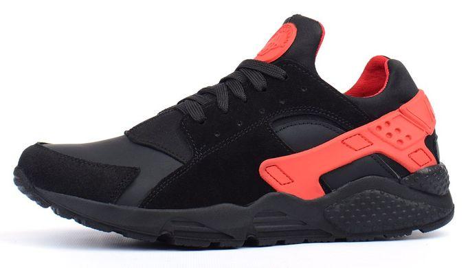 КупитиКросівки чоловічі шкіряні Nike Huarache black   red чорні з червоним  фото 37d3943438f95