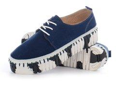 bc07534f7fae81 КупитиМокасини сліпони жіночі шкіряні темно-сині на шнурівці Туреччина  фото, в інтернет-магазині