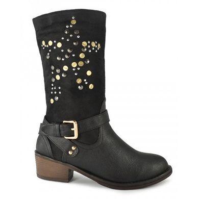 ᐉ Купити Чоботи козаки жіночі чорні еко-шкіра «Night sky» bf92a81454a4e