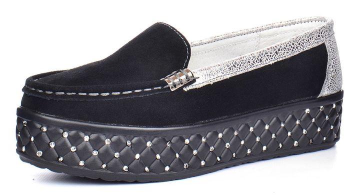 КупитиМокасини жіночі замшеві на платформі Swarovski black silver чорні  срібло фото 26ec262203dc1