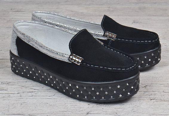 ... КупитиМокасини жіночі замшеві на платформі Swarovski black silver чорні  срібло фото c1d52720d668a