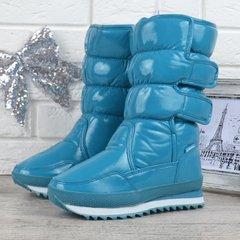 645849e2aaa Купить Дутики женские высокие зимние сапоги Super Gear бирюзовые на  липучках фото