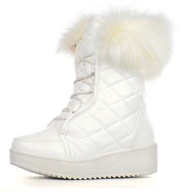 КупитиЧоботи жіночі зимові білі на платформі завищені зі шнурівкою Lady  winter фото 97c65599035a4