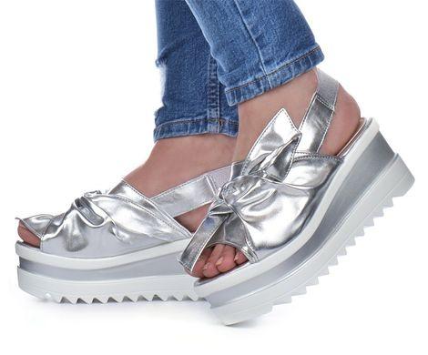 6d58c44b8b76cb КупитиБосоніжки жіночі на платформі срібло з бантом Brilliant Туреччина  фото, в інтернет-магазині взуття ...