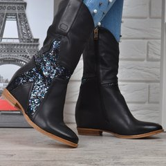 77f555cb04c409 КупитиЧоботи жіночі Козаки високі із зіркою глиттер на підборах фото, в  інтернет-магазині взуття