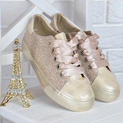 19f8311ae14d88 КупитиКеди жіночі на платформі Prima d'Arte золотисті з люрексом атласні  шнурки фото, в