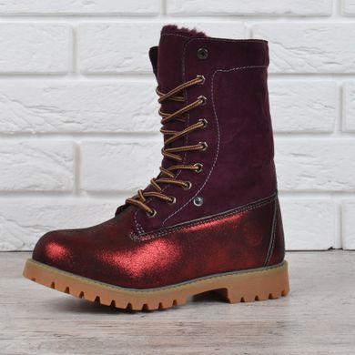 ec410c83bfe0 Купить Ботинки женские зимние на шнуровке натуральная опушка Bessky  Waterproof бордовые фото, в интернет- ...