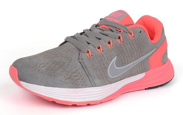8f6e11fb Купить Кроссовки женские замш Nike Lunarglide 7 Running серые с розовым  фото, в интернет- ...