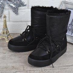 Купити. КупитиДутики жіночі зимові чоботи унти The only one чорні на  шнурівці фото ed52f9fee0b7b